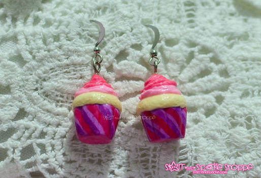 Pink Fluffy and Kawaii Cupcake Earrings