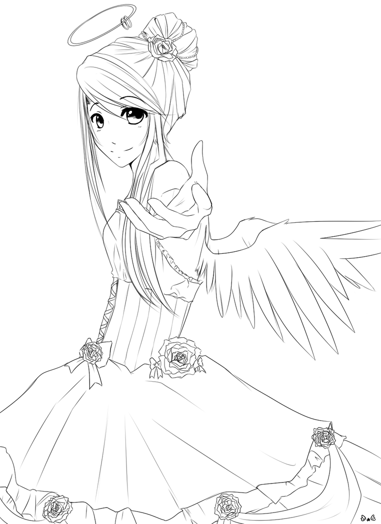Rose angel lineart by reverrii on deviantart for Anime angel coloring pages