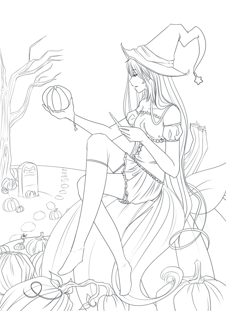 Line Art Halloween : Free halloween line art by reverrii on deviantart