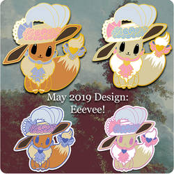 Eevee Lapel Pin and Sticker Designs