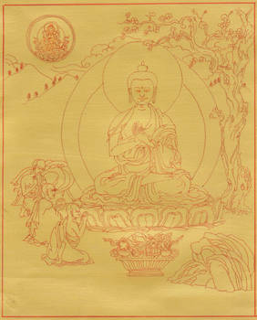 Buddha Shakyamuni turning the wheel of the Dharma