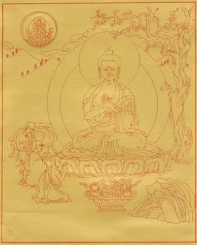 Buddha Shakyamuni turning the wheel of the Dharma