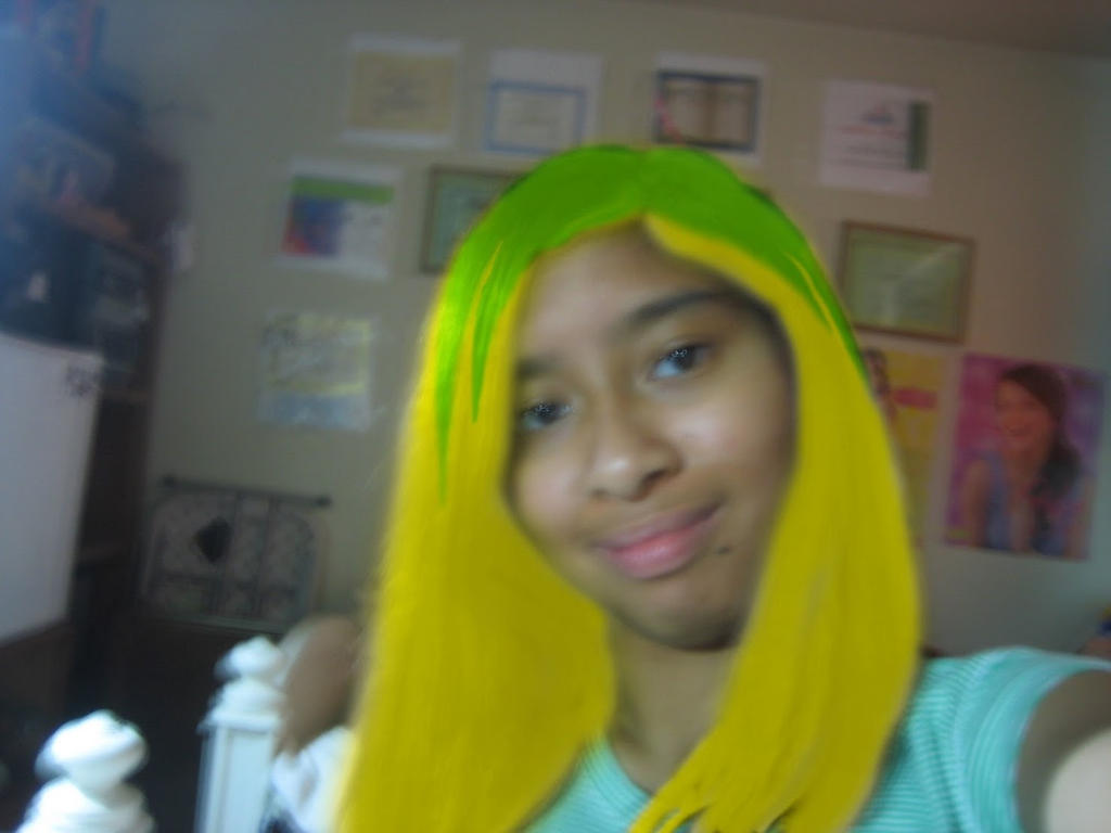 Me With My Dyed Blond Hair With Green Steaks By Magic