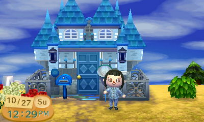 Acnl my house remodeled into a blue castle by magic for Modern house acnl