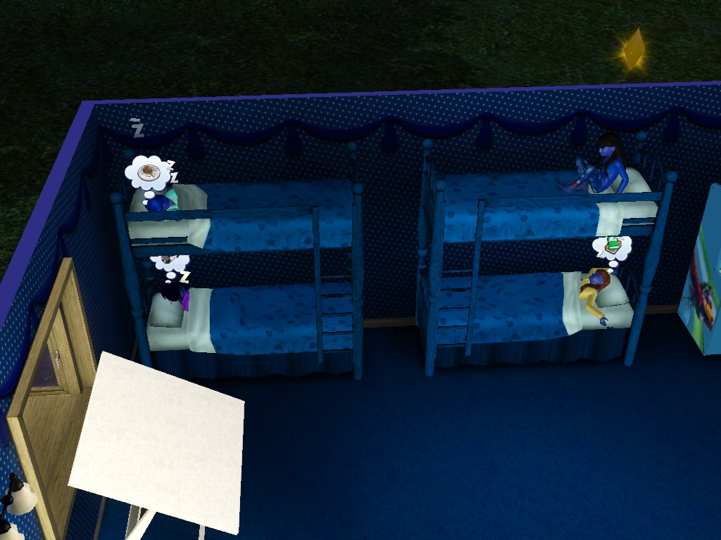 Sims 3 - Blue Beauregarde Girls and I are asleep 1 by Magic-Kristina-KW