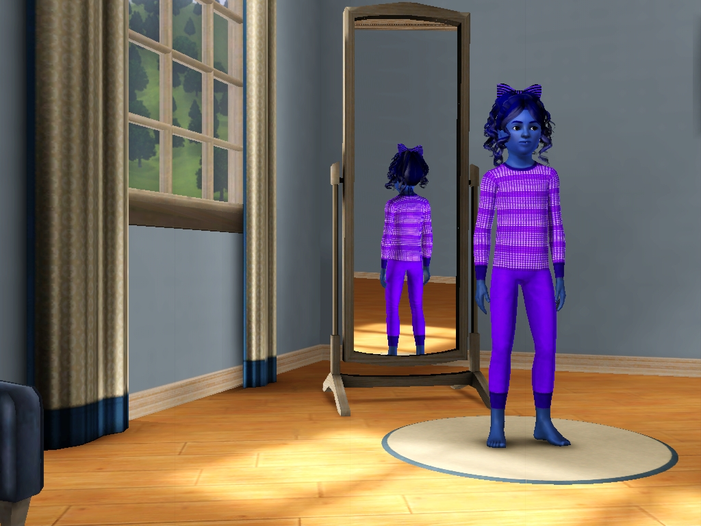 Sims 3 - Violet Beauregarde turns blue again by Magic-Kristina-KW