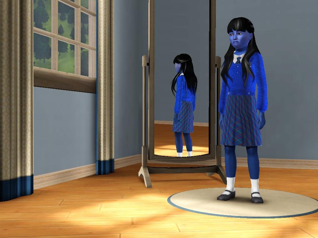 Sims 3 - I'm wearing a new blue school uniform by Magic-Kristina-KW