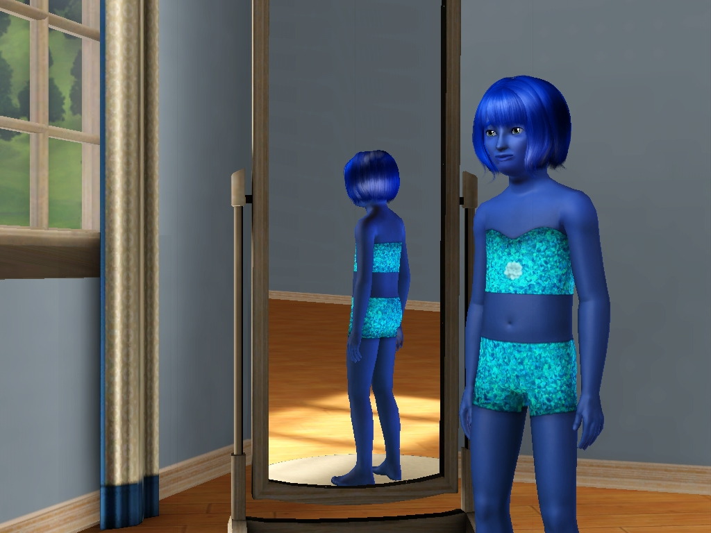 Sims 3 - Blue Annasophia in a light blue swimsuit by Magic-Kristina-KW