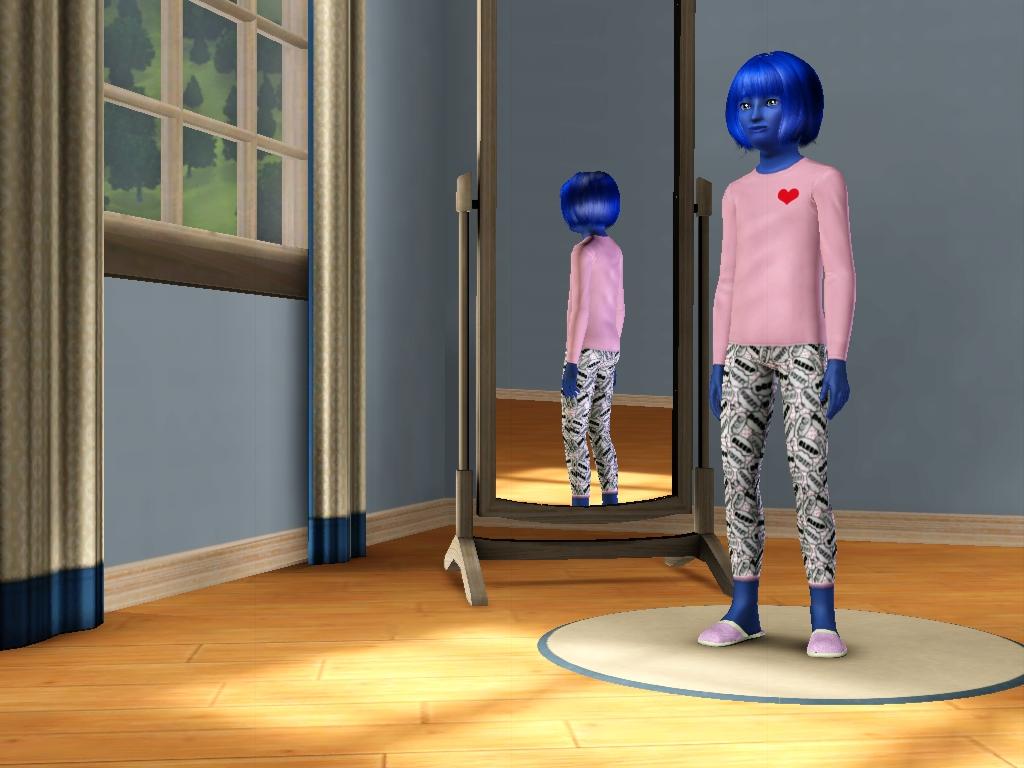 Sims 3 - Blue Annasophia in her new pajamas by Magic-Kristina-KW