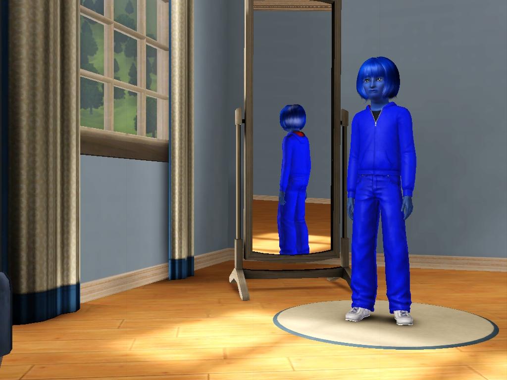 Sims 3 - Annasophia's tracksuit turns dark blue by Magic-Kristina-KW