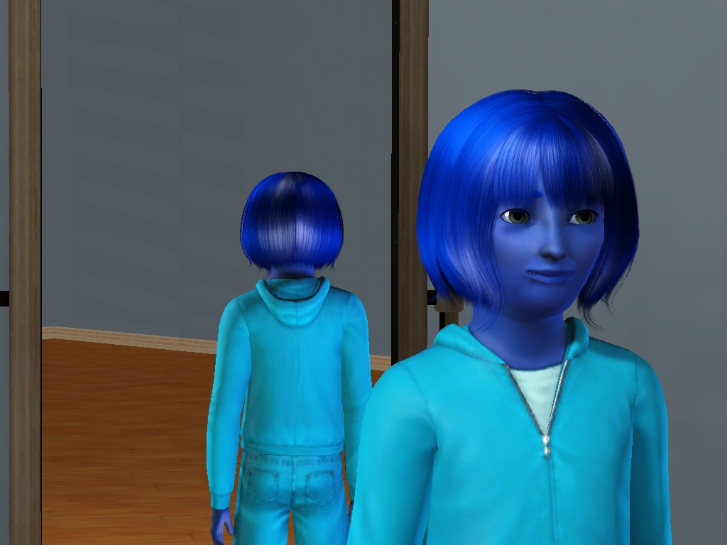 Sims 3 - Annasophia's skin and hair turn blue by Magic-Kristina-KW