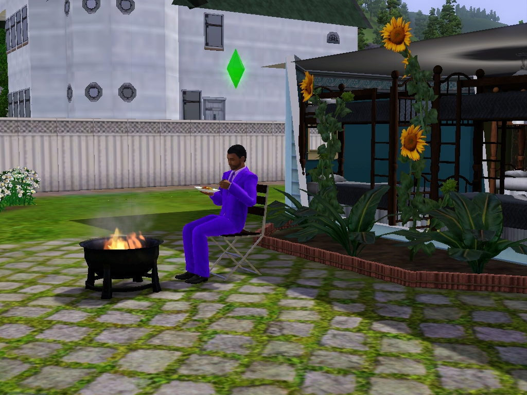 Sims 3 - Eugene eats breakfast by the fire pit by Magic-Kristina-KW