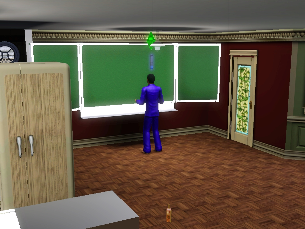 Sims 3 - Eugene found a chalkboard and practice by Magic-Kristina-KW