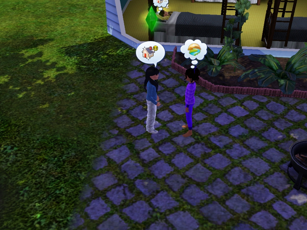 Sims 3 - Violet and I talk outside alone by Magic-Kristina-KW