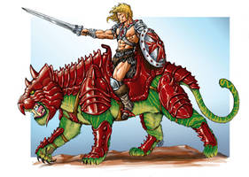 He-Man and Battlecat by RubusTheBarbarian