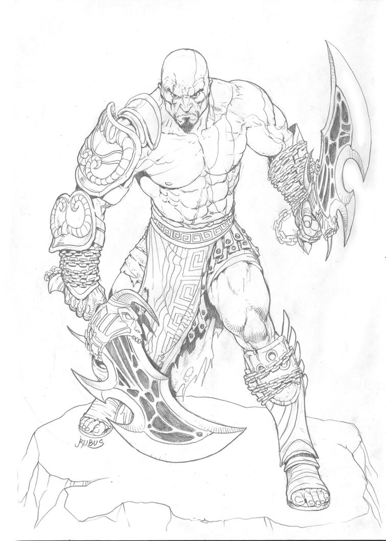 Line Drawing Of Zeus : Kratos pencils by rubusthebarbarian on deviantart