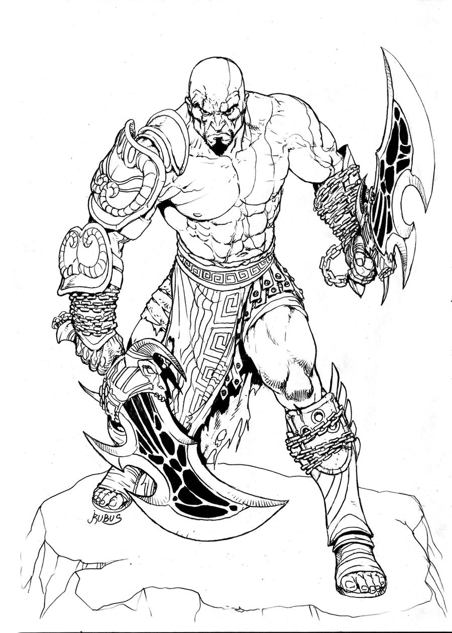 Kratos Inks By Rubusthebarbarian On Deviantart Uroboros God Of War Coloring Pages The Monsters