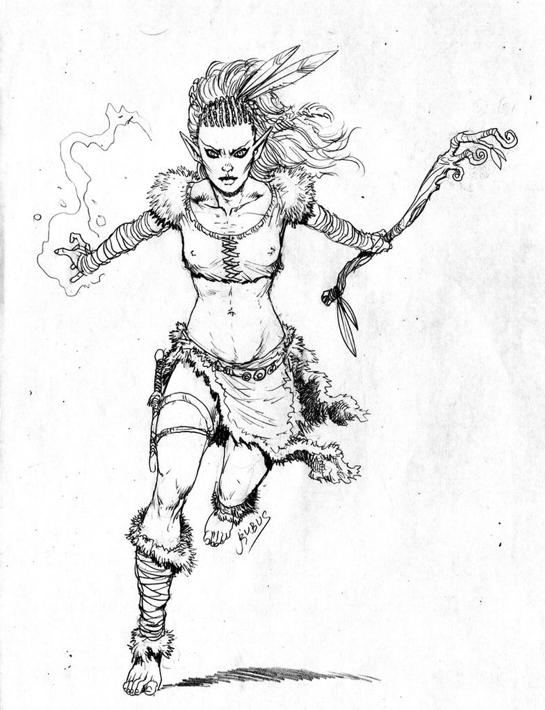Elf druid girl by rubusthebarbarian on deviantart for Girl elf coloring page