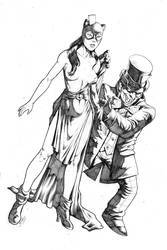 Mad Hatter and retro Cat Woman 2013 commission by RubusTheBarbarian