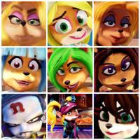 The female characters of Crash Bandicoot.