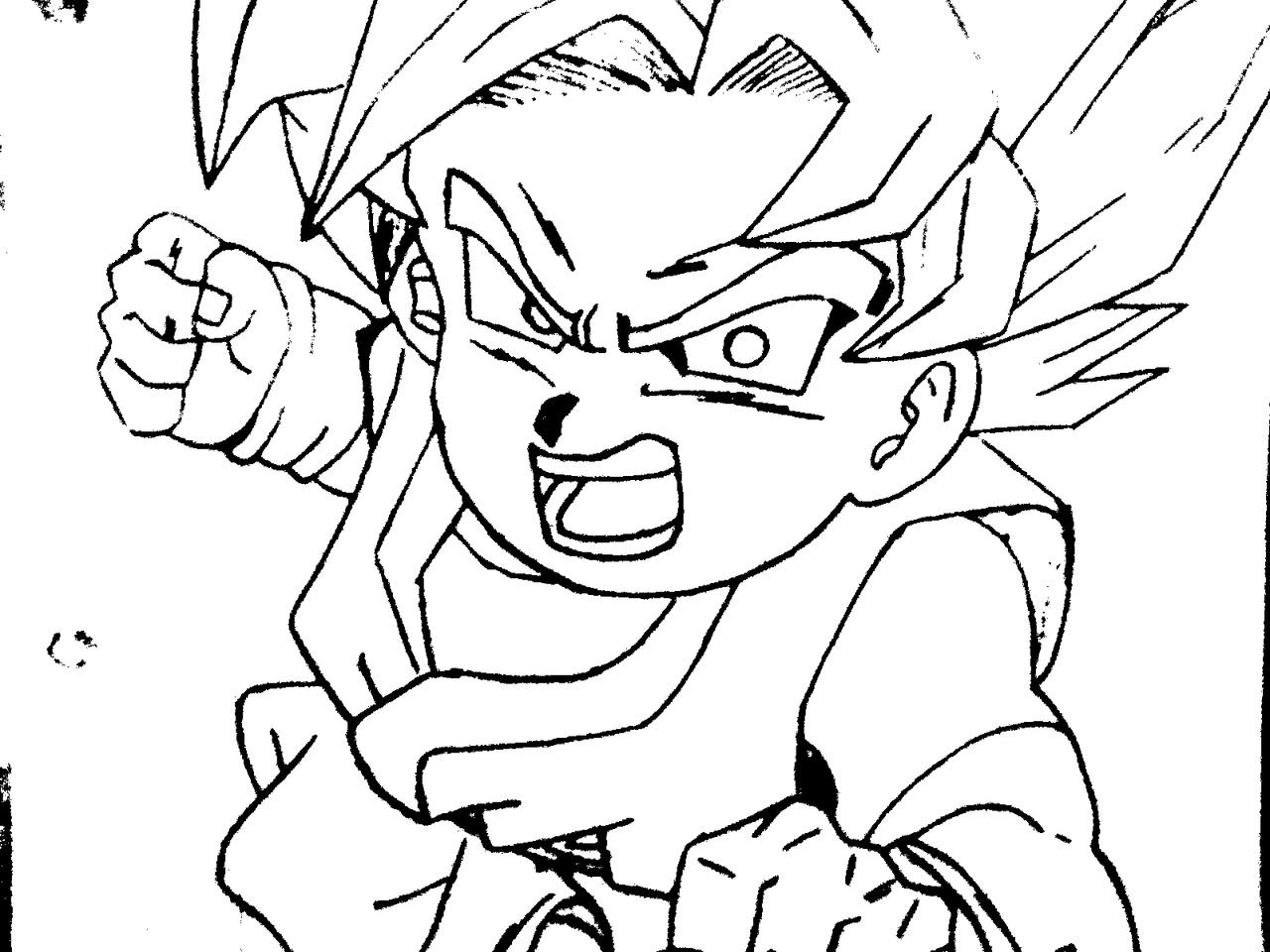 Goku Pequeño Para Colorear: Goku Jr Saiyan Black And White By Ferfurchi88 On DeviantArt