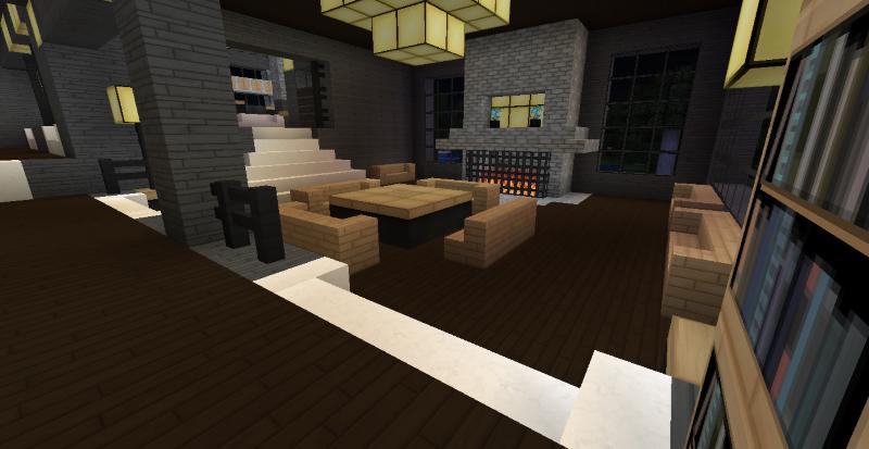 modern minecraft mansion - dining/family roomthefawksyartist