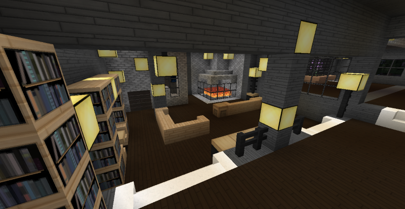 Modern minecraft mansion living room by thefawksyartist for Minecraft dining room designs