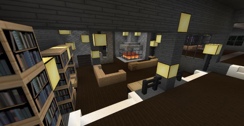 Modern minecraft mansion living room by thefawksyartist for Mansion living room designs