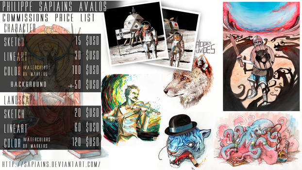 Commissions Price List