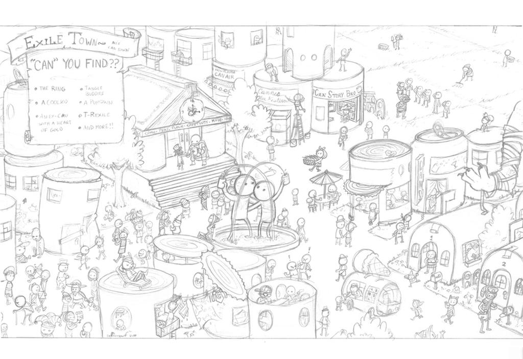Can Town - pencils by saffronscarf