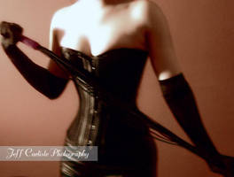 Black Leather Corset by Aziraphale1334