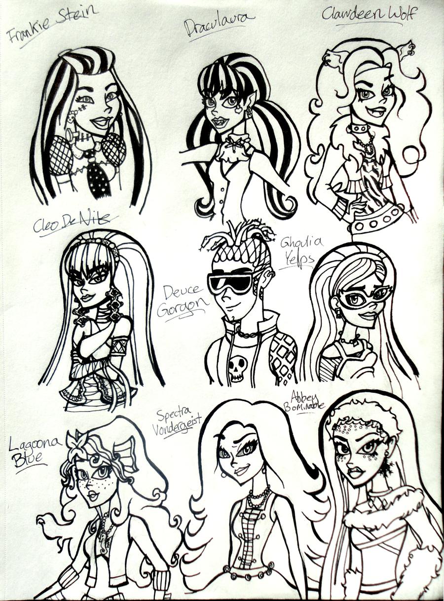 monster high doodles by disneywiz on deviantart