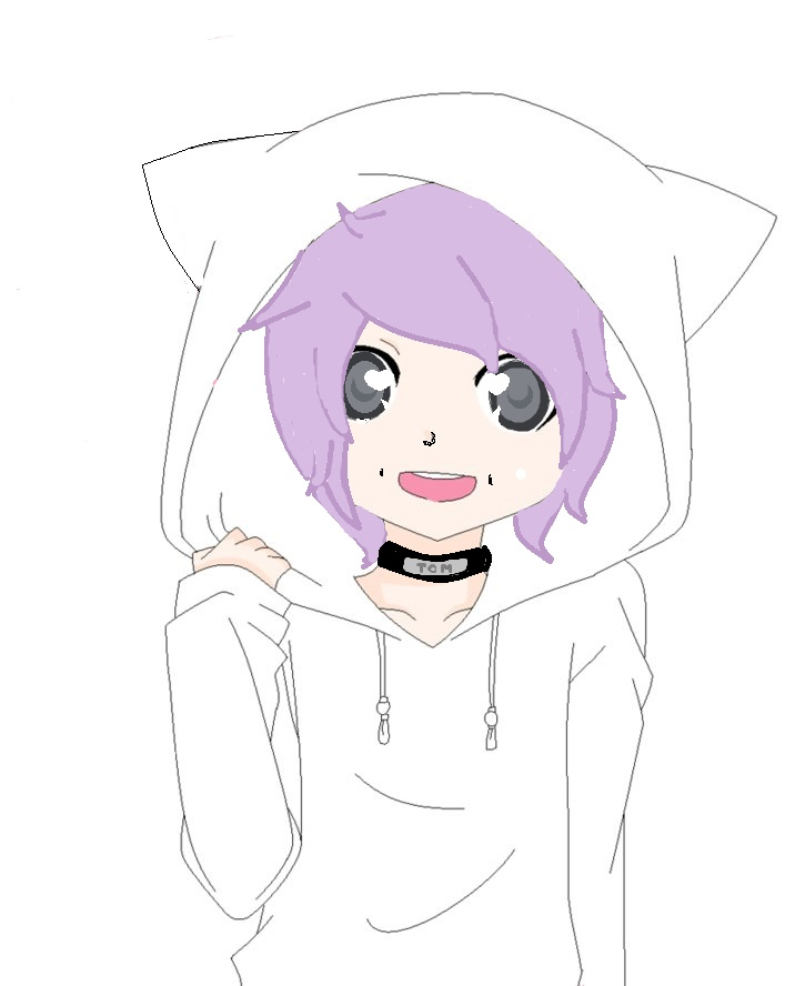 how to draw chibi cat hoodie girl easy