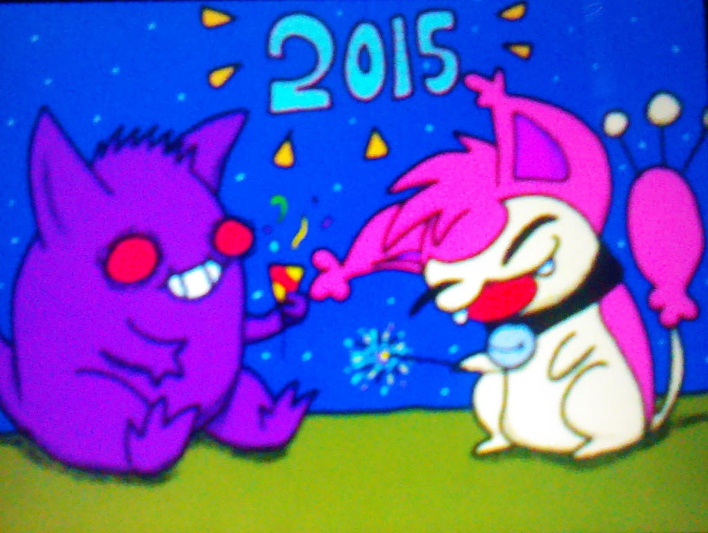 Skitty and gengar happy new year 2015 by Skitty843