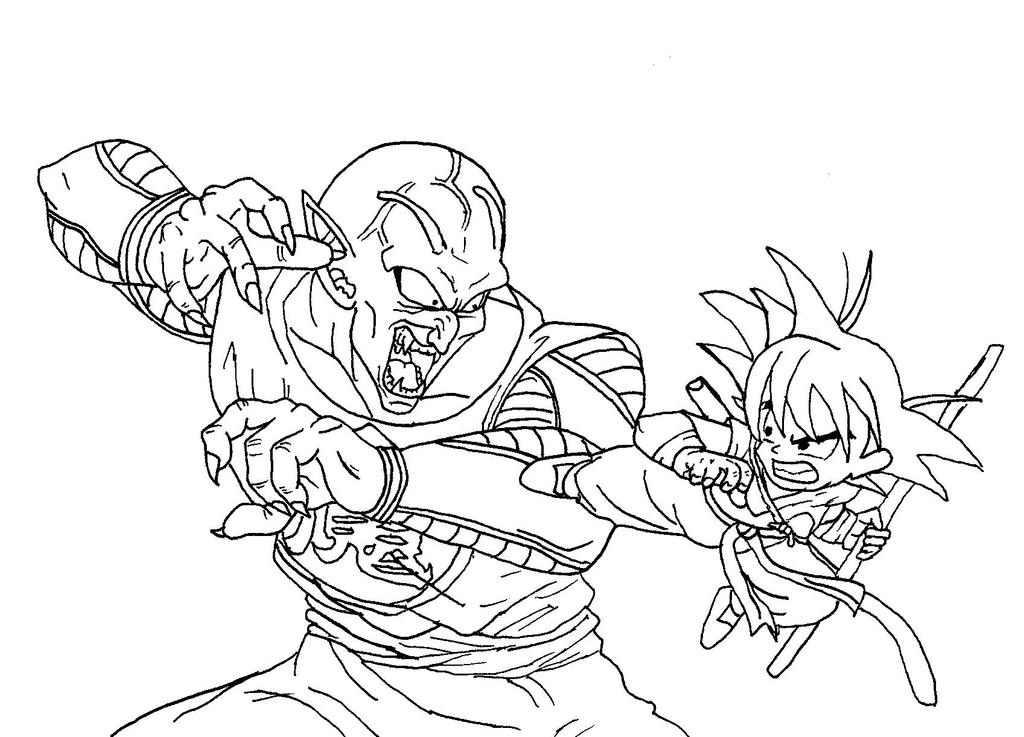 Goku Vs. King Piccolo No Color by caleb1029 on DeviantArt