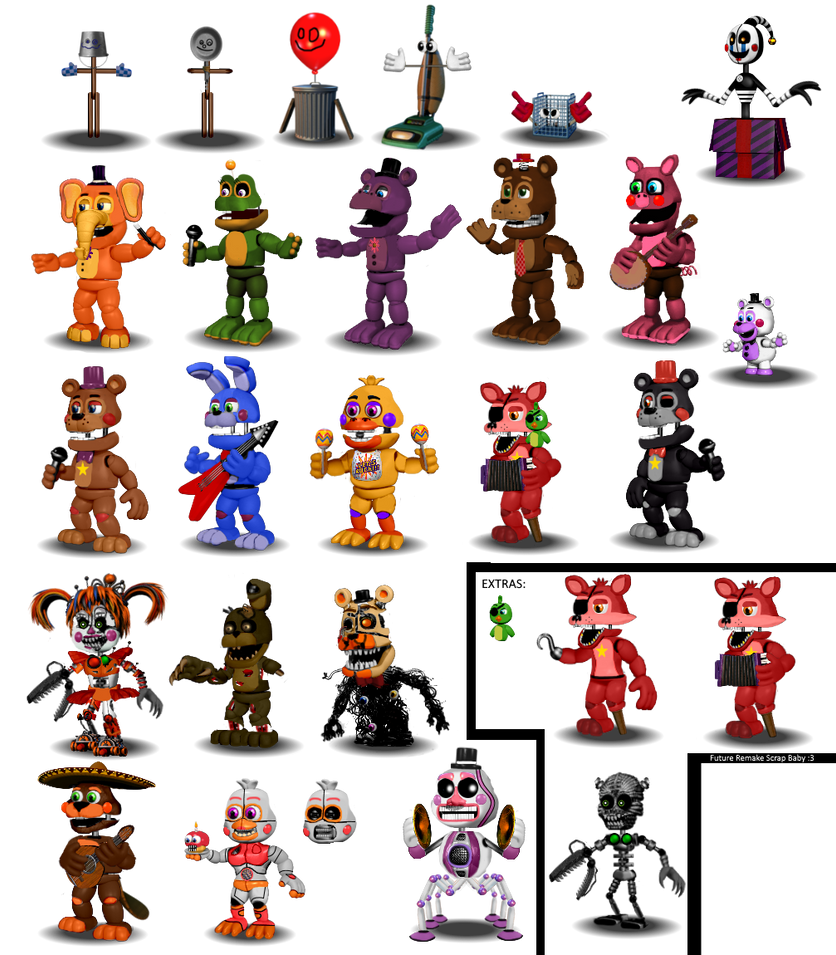 Fnaf 6-All animatronics by Diegopegaso87 on DeviantArt