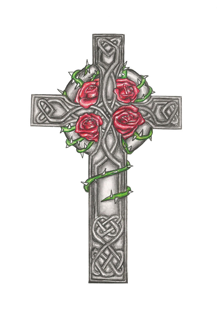 celtic cross tattoo design commision by laurenroseox on