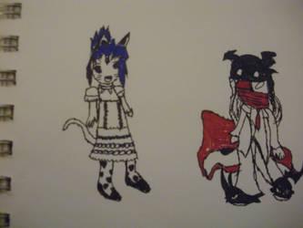 Anji_cat_girl1 and Savan by FallenNekoChild