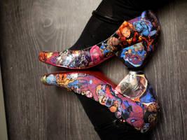 Decoupage Marvel Shoes by chibicthulhu
