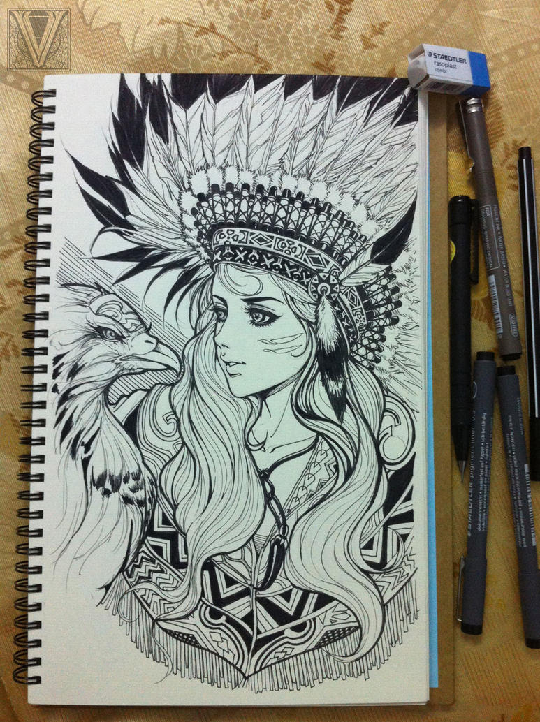 Indian girl paper and pen version by mr-Vy