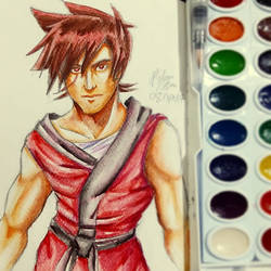 Watercolor Sketch: Kai from Ninjago (again...)