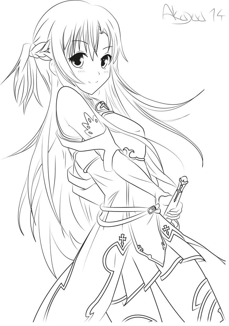 Coloring Lineart : Asuna yuuki sword art online lineart by akayaa on