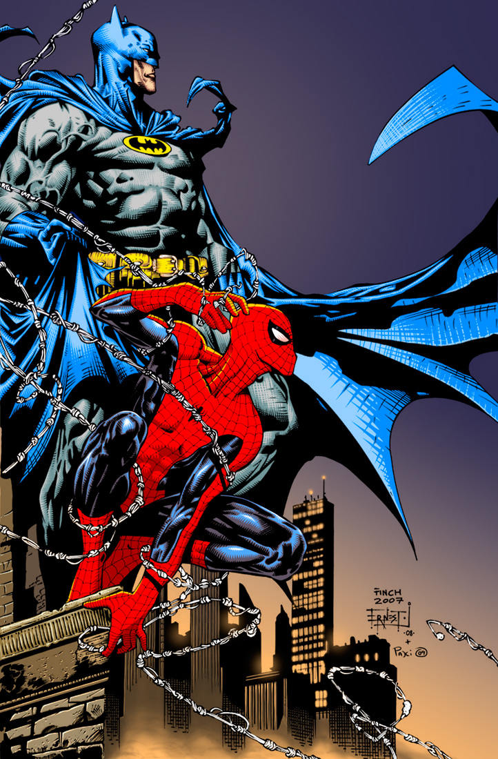 Spiderman and Batman final by Rustyoldtown