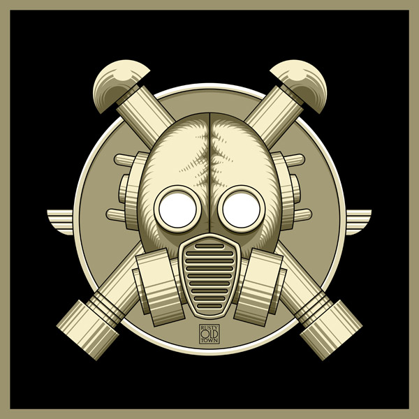 Art Deco Gasmask retro black by Rustyoldtown