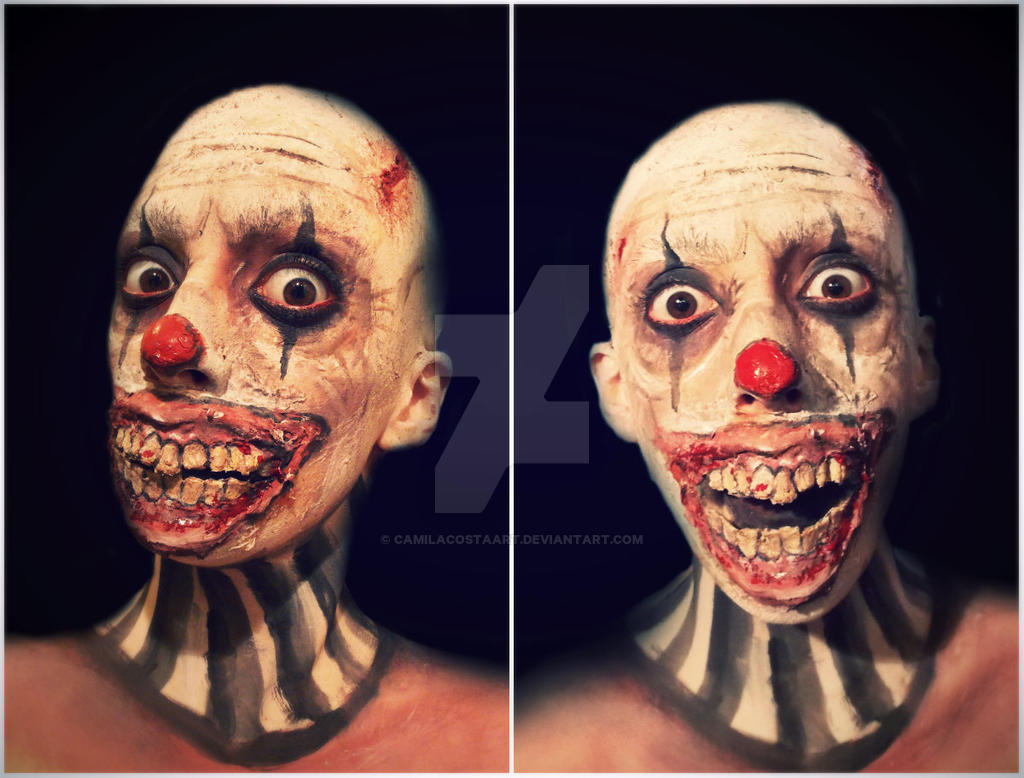 evil clown makeup fx by camilacostaart on deviantart