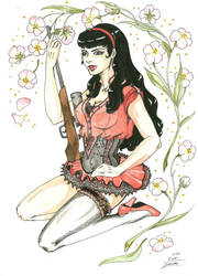 Tattoo-Motive Pin-up with a Gun