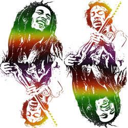 Legends of Music: Bob and Jimi by Fernando Lyons by lyonsartandmedia