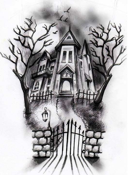 haunted house sketch + brushes by ShizZuro on DeviantArt