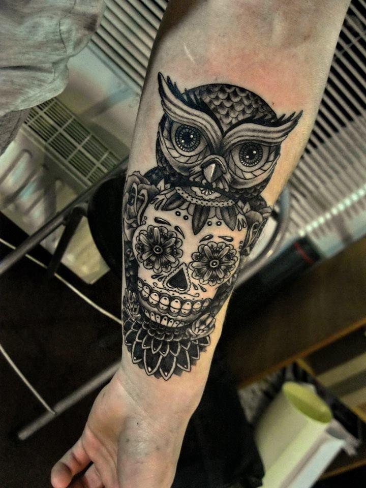 Owl candy skull tattoo by shizzuro on deviantart for Owl tattoo skull