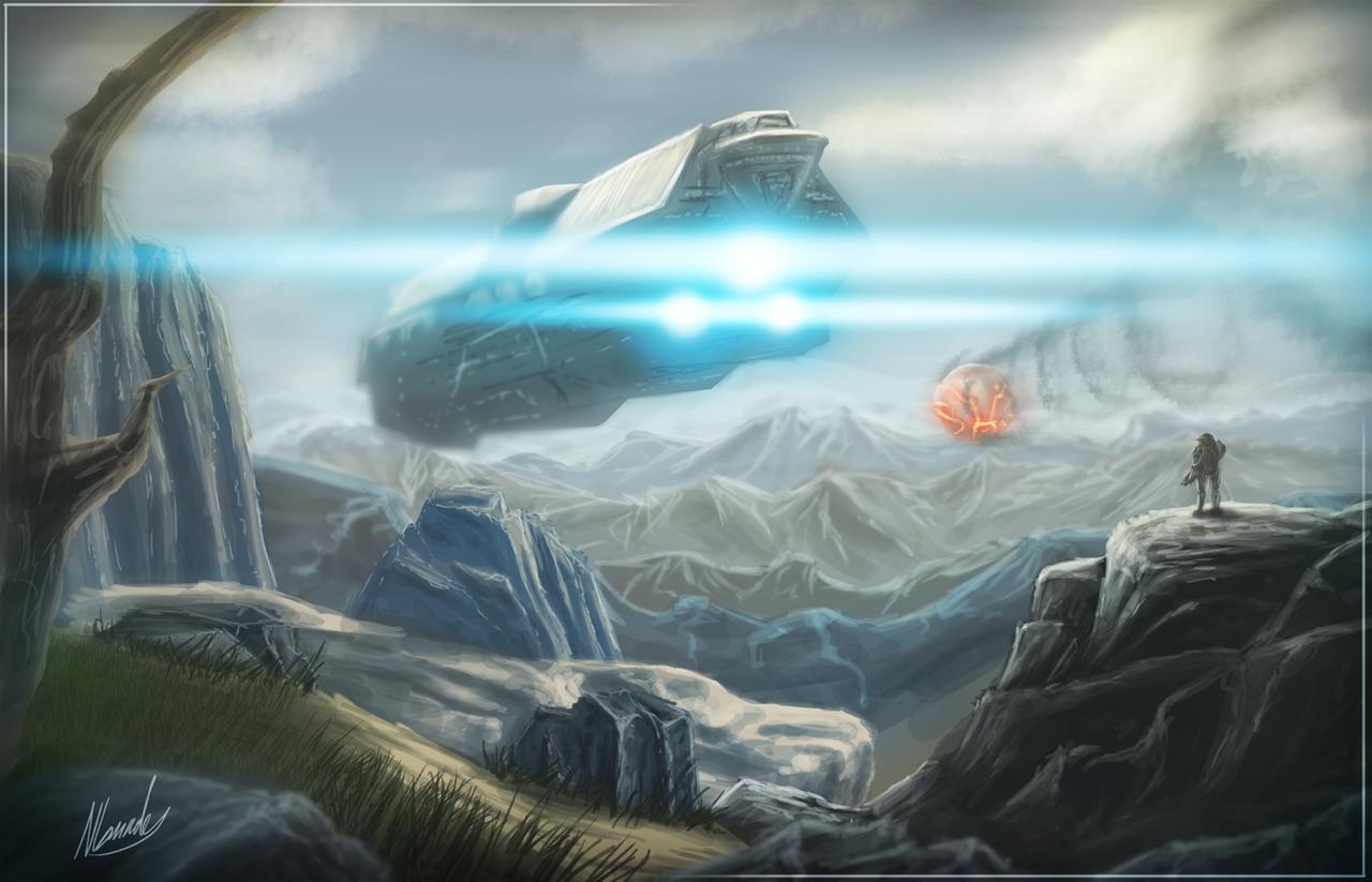 UNSC Infinity - Halo 4 Speed Art - 3hrs by IceDragonhawk